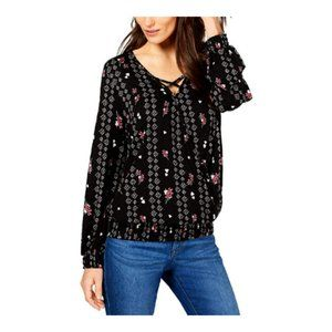 Style & Co. Womens Printed Smocked Pullover Top